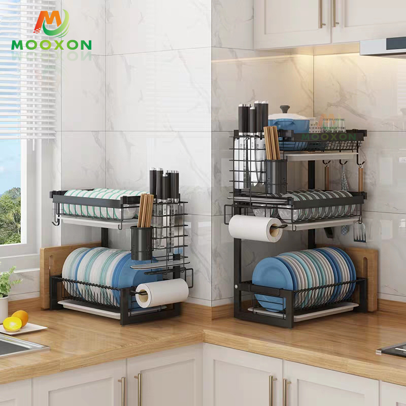 201 Stainless Steel Spice Rack With Black Coating Standing Kitchen Bottle Jars Organizer Rack