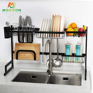 Adjustable Stainless Steel Free Standing Kitchen Organizer Dish Drainer Rack