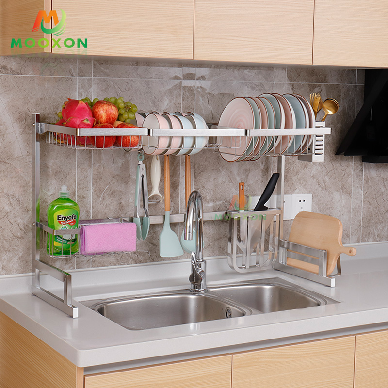 2 Tier 85cm 304 Stainless Steel Silver Stand Drainer Plate Holder Dishes Drying Dryer Kitchen Sink Dish Rack