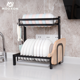 2/3 Tier Kitchen Drying Organizer Stainless Steel Plate Holder Dish Drainer Rack
