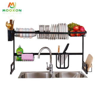 Home Organizer New 2 Tier 79cm Stainless Steel Black Over The Sink Drying Dish Racks
