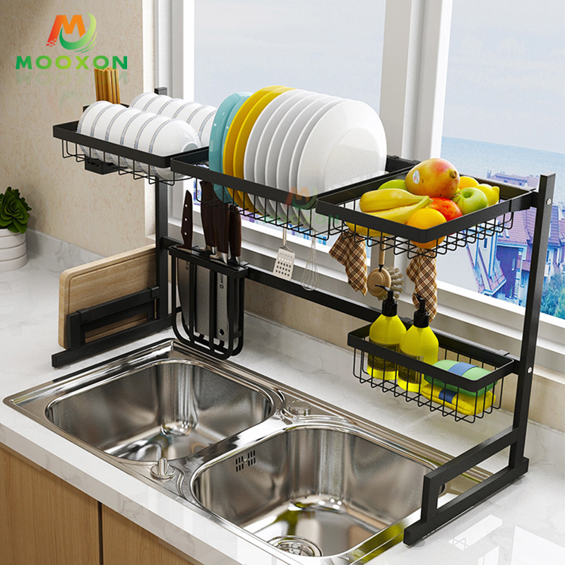 91cm 2 Tiers 201 Stainless Steel Cutlery Dish Drying Rack