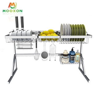 Stainless Steel Plate Drying Holder Storage Shelf 84cm Kitchen Organizer Dish Dryer Rack