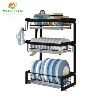 2/3 Tiers Stainless Steel Dishes Drainer Storage Shelf Kitchen Dish Bowl Dryer Rack